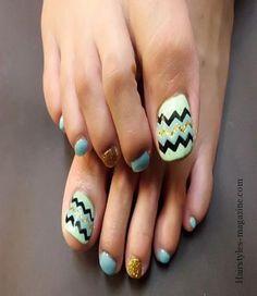 zigzag toe nails  Some great toe nails art design ideas