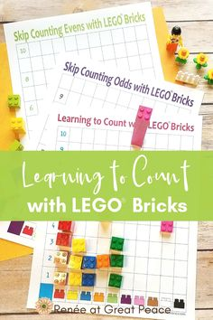 Teaching Counting Couldn't Be Simpler Than Using Lego Bricks For Math, With Free Counting Printables. Figuring out how To Count With Lego Bricks Renee At Great Peace Homeschool High School, Homeschool Math, Homeschooling Resources, Lego Therapy, Lego Math, Math Manipulatives, Learn To Count, Early Math, Simple Math