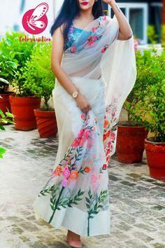 Floral Print Sarees, Saree Floral, Indian Bridal Outfits, Indian Fashion Dresses, Stylish Sarees, Stylish Dresses, Saree Painting Designs, Simple Sarees, Simple Saree Blouse Designs