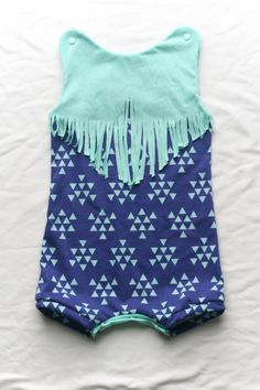 Fringe Romper Cotton - Baby and Toddler sizes - Jumpsuit - Dark blue and light blue triangles arrows - Cotton Jersey on Etsy, $28.76