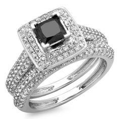 1.40 Carat (Ctw) 14K Gold Princess, Round Cut Black & White Diamond Halo Bridal Engagement Ring Band Set – Jewelry