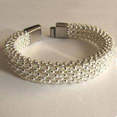 Sterling Silver Bead and Crystal Beaded Bracelet Metal Seed