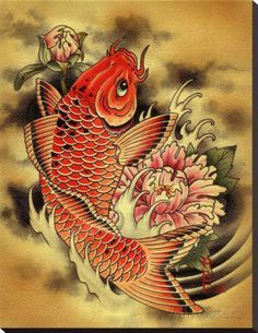 """Koi fish are the domesticated variety of common carp. Actually, the word """"koi"""" comes from the Japanese word that means """"carp"""". Outdoor koi ponds are relaxing. Japanese Fish Tattoo, Koi Fish Tattoo, Japanese Koi, Japanese Tattoo Designs, Japanese Sleeve, Japanese Prints, Japanese Pheonix Tattoo, Japanese Dragon, Geisha Tattoos"""