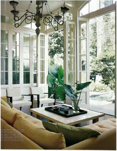 Beautiful Living Room - love the fold away doors! Love the fact that fresh air can flow indoors! The sofa is perfect. The chairs go nicely with the whole room. Home, House Styles, House Design, Home And Living, Beautiful Interiors, Interior Design, Beautiful Living, Living Spaces, Beautiful Living Rooms