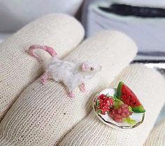 NICO.KUNST OOAK Dollhouse Miniature, Hungry mice with fruits  Animals Pet 1:12  #NICOKUNST