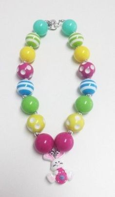 Easter Bunny Chunky Bubblegum Necklace
