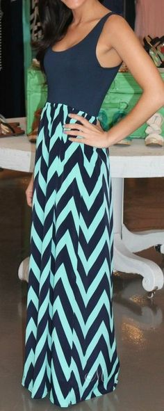 Navy & Mint Chevron Maxi Dress