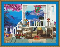 Cat On The Veranda Cross Stitch Pattern