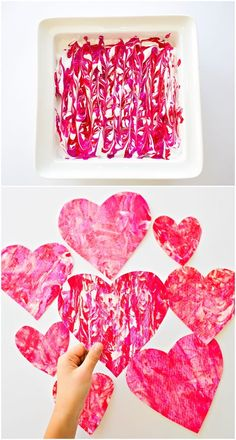 art for kids Valentine Shaving Cream Hearts. Fun process art project for kids to make handmade paper valentine prints, cards, garlands and favors! Valentine's Day Crafts For Kids, Valentine Crafts For Kids, Valentines Day Activities, Easter Crafts, Fun Activities, Cool Art Projects, Projects For Kids, Art Project For Kids, Craft Projects
