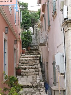 Fiskardo, Kefalonia Greece --literally taken a picture on these steps! <3