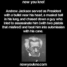 An Interesting *FYI** Regarding President Andrew Jackson Wow Facts, Wtf Fun Facts, Funny Facts, Funny Memes, Random Facts, Hilarious, History Memes, History Facts, The More You Know