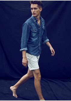 """Pearl snap denim shirt with 5"""" shorts is a must for the summer. Always undo at LEAST two buttons."""