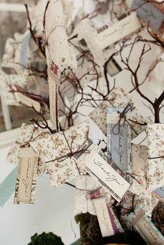 Tarjetas de agradecimiento, decoracion para una boda rústica