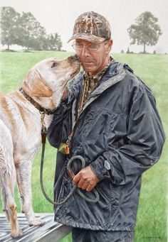 """""""Cutter's Kiss"""" A commissioned watercolor portrait. It was one of Cutter's first hunt tests and Cutter's best friend was more nervous than Cutter and he wanted to show that."""