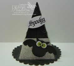 Debbie Henderson's witch hat treat box made with the Petal Cone die.  Shimmer spray and glimmer paper really bling it up!