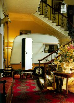 Because of course we all need a caravan in the living room. Tiny Trailers, Vintage Campers Trailers, Retro Campers, Cool Campers, Vintage Caravans, Camper Trailers, Happy Campers, Eriba Puck, Camping Glamping
