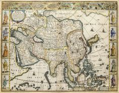 """""""Map of Asia,"""" John Speed, 1626. This beautiful carte-a-figures map is the first English printed map of Asia.  It is flanked by costumed figures of Asian peoples with a series of eight city views forming a decorative frieze across the top, including Damascus, Jerusalem, Aden, Hormus, Goa, Kandy, Banten and Macau."""