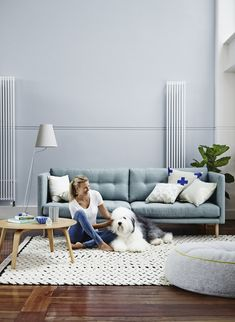 Lounge room inspiration - light blues, grays, simple Scandinavian style // love the old English sheepdog! Light Blue Couches, Light Blue Walls, Blue Couch Living Room, Living Room Decor, Blue Grey Walls, Blue Lounge, Piece A Vivre, Blue Rooms, Reno