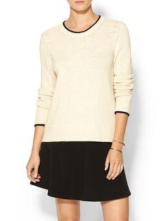 Rag & Bone Annette Pullover Sweater  with black trim detail