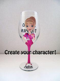 Create a Character Wine Glasses Wedding Wine by JennyDsCreations
