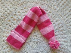 Dog scarf size XS/S knitted pink stripes print with puffy ball at the end #Unbranded