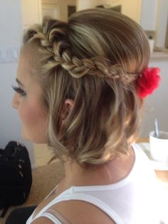 Bridesmaid hairstyles for short hair braided up do short hair updo within bridesmaid hair braid short Pretty Braided Hairstyles, Cute Hairstyles Updos, Short Bob Hairstyles, Wedding Hairstyles, Bridesmaid Hairstyles, Hairstyle Ideas, Hair Ideas, Short Updo Hairstyles, Homecoming Hairstyles