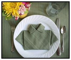 fête des pères : pliage serviette en chemise