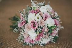 Pink & white bouquet with grey foliage