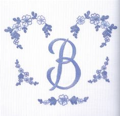 Garland work with the letter B - embroidered chain stitch and chain stitch seam to the letter, by D. Porthault