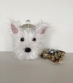 Westie Treat Jar/Westie Cozy/Dog Cozy/Dog Treat by HookedbyAngel