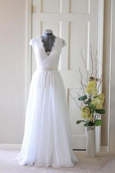 Lace 2 in 1 Detachble Wedding Dresses Lace Short Gown  by Newlooking for $196.00