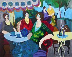 Morning Tea, Ltd Ed Silk-screen, Itzhak Tarkay   #Impressionism