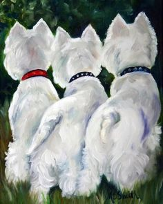 PRINT White Westie West Highland Terrier Dog Puppy Art Oil Painting / Mary…
