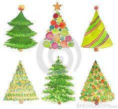 Sistema del árbol de navidad pintado a mano de la acuarela