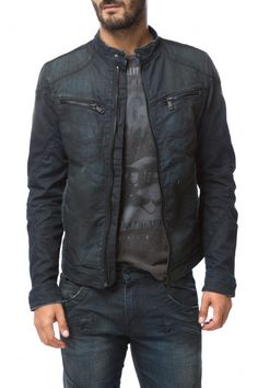 BARCLAY WR28 - Anniversary - Gas Jeans online store - Blue-black 10 oz stretch denim jacket, thin collar, unusual coated finish that gives the garment a shiny look. Dark treated with worn look. Two small front zip pockets, two side fillet pockets, zip and button cuffs, satin fabric lining, centre closure with zip and button.