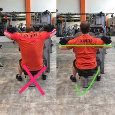 Links sieht man das die Ellenbogen zu weit nach oben gezogen werden, der Kopf geht nach vorne und der Rücken rundet ein. Dadurch werden Teile des Rücken trainiert, wie der Nacken. Es ist also nicht nötig höher als bis zur Waagerechten zu ziehen. Rechts sieht man die optimale Ausführung, der Rücken ist gerade und stabil und die Ellenbogen werden bis zur Waagerechten angehoben. Dadurch kontrahieren die Schultern optimal und können perfekt isoliert werden, um einen extra Reiz zu setzen.