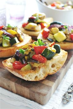 A great warm-weather antipasto, no? // Roasted Ratatouille Toasts / Bev Cooks #fresh #summer #appetizers