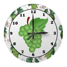 green grape kitchen wall clock