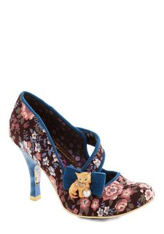You're Florally Invited Heel by Irregular Choice - Floral, Print with Animals, Trim, Daytime Party, High, Best, International Designer, Multi, Blue, Bows, Party, Vintage Inspired, Cats