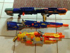 Lot of 3 Nerf Guns, Vulcan EBF-25, Long Strike CS-6, Long Shot CS-6 w/ tripod #NERF Cool!