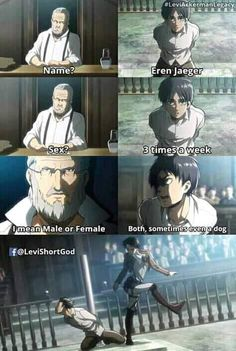 Welcome to the world of Anime Memes Humor, Funny Jokes, Hilarious, Funny Gifs, Attack On Titan Funny, Attack On Titan Anime, Anime Meme, Anime Manga, Titans Anime