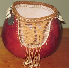 My gourd with beads, pine needle coil, shoe polish and waxed linen thread