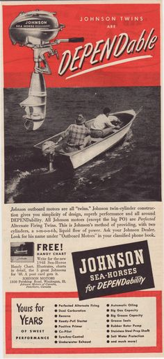 """Vintage Ad: """"Johnson Twins Are DEPENDable"""" from Johnson Outboard Motors, 1948 on Etsy, $4.00"""