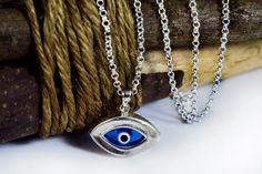 Evil Eye Necklace Blue Oval Eye Necklace by sunnybeadsbythesea