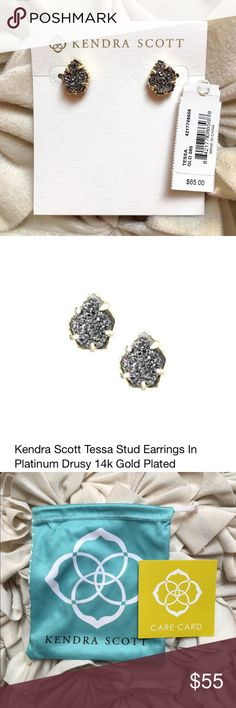 NWT Kendra Scott Tessa Earrings in gold/platinum NWT Kendra Scott Tessa earrings in gold with platinum drusy . Right on trend & a great way to add some dazzle to your look with these rocket-chic studs!  Comes with original pouch and care card. Kendra Scott Jewelry Earrings