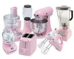 Pink kitchen appliances. YES!  I would love this more if they were lavender.