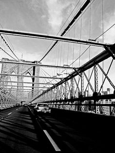 From the back of the motorcycle - over the Brooklyn Bridge, towards Dumbo, NY © Helen Jones-Florio