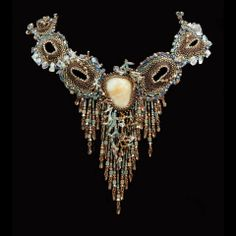Sculptural beadwork necklace with Peruvian Opal.