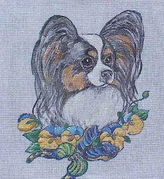 Papillon Style without flowers or with flowers Needlepoint Kit by Hot Diggity Dog Fabrics by HotDiggityDogFabrics on Etsy