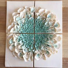 Ceramic Flower Wall Decor , Porcelain Blossom Tile, White Turquoise bloom Wall sculpture, Flower Sculptures, Floral Art Tile - My CMS Ceramic Wall Art, Tile Art, Ceramic Decor, Wall Tile, Flower Wall Decor, Flower Decorations, Wall Decor Crafts, Art Floral, Cerámica Ideas